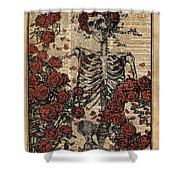 Skeleton Art With Roses Book Arthuman Anatomy Shower Curtain