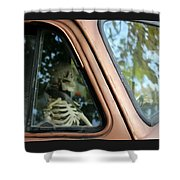 Skeleton Behind The Wheel Of Chevy Truck Shower Curtain