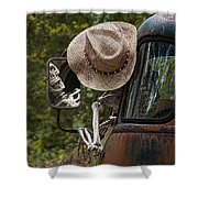 Skeleton Crew - Skeleton Driving A Vintage Truck Shower Curtain