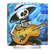 Skeleton Guitar Day Of The Dead  Shower Curtain