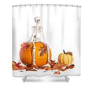 Skeleton Sitting On Pumpkin Shower Curtain