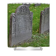 Skeleton Tombstone 1600s Shower Curtain