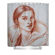 Sketch In Conte Crayon Shower Curtain