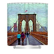 Sketch Of Brooklyn Bridge Pedestrians Shower Curtain