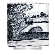 Sketch Of Country Scene Shower Curtain