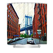Sketch Of Dumbo Neighborhood In Brooklyn Shower Curtain