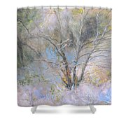 Sketch Of Halation Effect Through Trees Shower Curtain