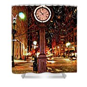 Sketch Of Midtown Clock In The Snow Shower Curtain