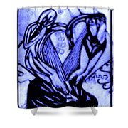 Sketch Of Statue In Blue Shower Curtain