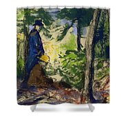Sketchers In The Woods Shower Curtain
