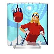Ski Bunny Retro Ski Poster Shower Curtain