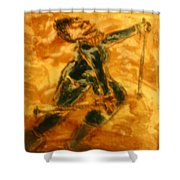 Ski Lady - Tile Shower Curtain