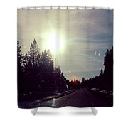Ski Lodge Road Shower Curtain