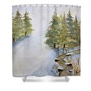 Ski Mountain Shower Curtain