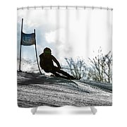 Ski Racer Backlit Shower Curtain