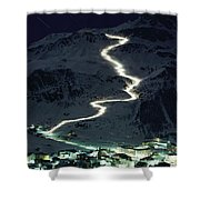 Skiers Bearing Torches Ski Down Mont Shower Curtain