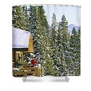 Skiers On Balcony Of Ski Lodge Prepare Shower Curtain