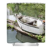 Skiff And Motor Shower Curtain