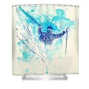 Skiing Down The Hill Shower Curtain