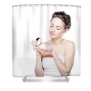 Skin Care. Young Woman Opening A Creme Jar Shower Curtain