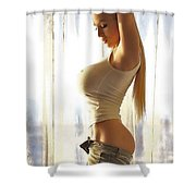 Skin With Men's Wrinkle Cream Shower Curtain