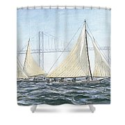 Skipjacks Racing Chesapeake Bay Maryland Detail Shower Curtain by G Linsenmayer