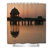 Skn 1364 Sunrise Behind Cenotaph Shower Curtain