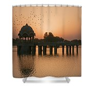 Skn 1370 Flying Time Shower Curtain