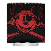 Skull And Bones Mickey In Red Shower Curtain