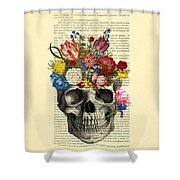 Skull With Flowers Vintage Illustration Shower Curtain by Madame Memento
