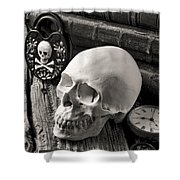 Skull And Skeleton Key Shower Curtain by Garry Gay