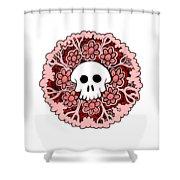 Skull Mandala Pink Shower Curtain