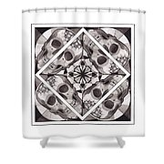 Skull Mandala Series Number Two Shower Curtain by Deadcharming Art