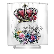 Skull Queen With Flowers Shower Curtain