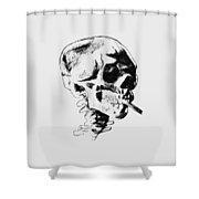 Skull Smoking A Cigarette Shower Curtain
