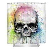 Skull Watercolor Rainbow Shower Curtain