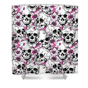 Skulls And Red Flowers Shower Curtain