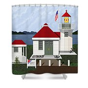 Skunk Bay Lighthouse Shower Curtain