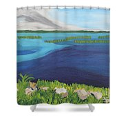 Serene Blue Lake Shower Curtain