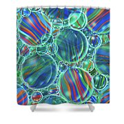Sky Blue Marbles Shower Curtain
