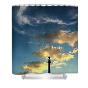 Sky Clouds And Statue In Stuttgart Germany Shower Curtain