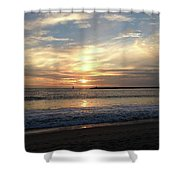 Sky Swirls Over Toes Beach Shower Curtain by Lorraine Devon Wilke