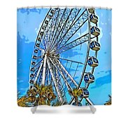 Sky Wheel-colorized Shower Curtain