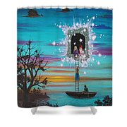 Sky Window Shower Curtain by Roz Eve