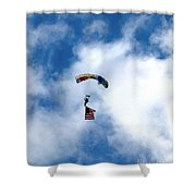 Skydiver With Flag Shower Curtain