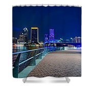 skyline and river coast scenes in Jacksonville Florida Shower Curtain