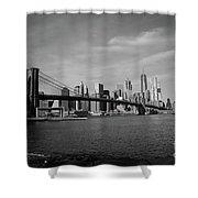 Skyline And The Brooklyn Bridge Shower Curtain