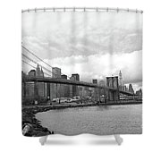 Skyline Nyc Brooklyn Bridge Bw Shower Curtain