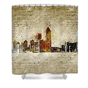 skyline of Atlanta in modern and abstract vintage-look Shower Curtain