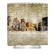 skyline of Denver in modern and abstract vintage-look Shower Curtain